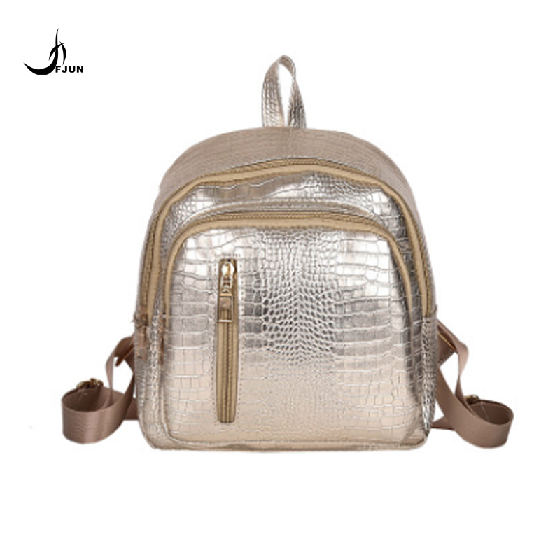 FUN Famous Brand women PU leather backpack fashion Crocodile pattern school backpack female shoulder bag Mochila Feminina