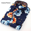 2017 Spring Men Long Sleeve Flower printing Shirt Plaid Male High Quality Tops Shirt Fashion Mens Dress Shirts Slim Large