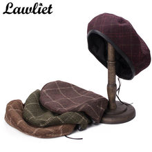 8e1a00622ab16 (Ship from US) Lawliet Women Beret Winter Cap Tartan Stripe Black Faux  Leather Sweatband Adjustable Wool Cap French Beret Ladies Beanies Hats