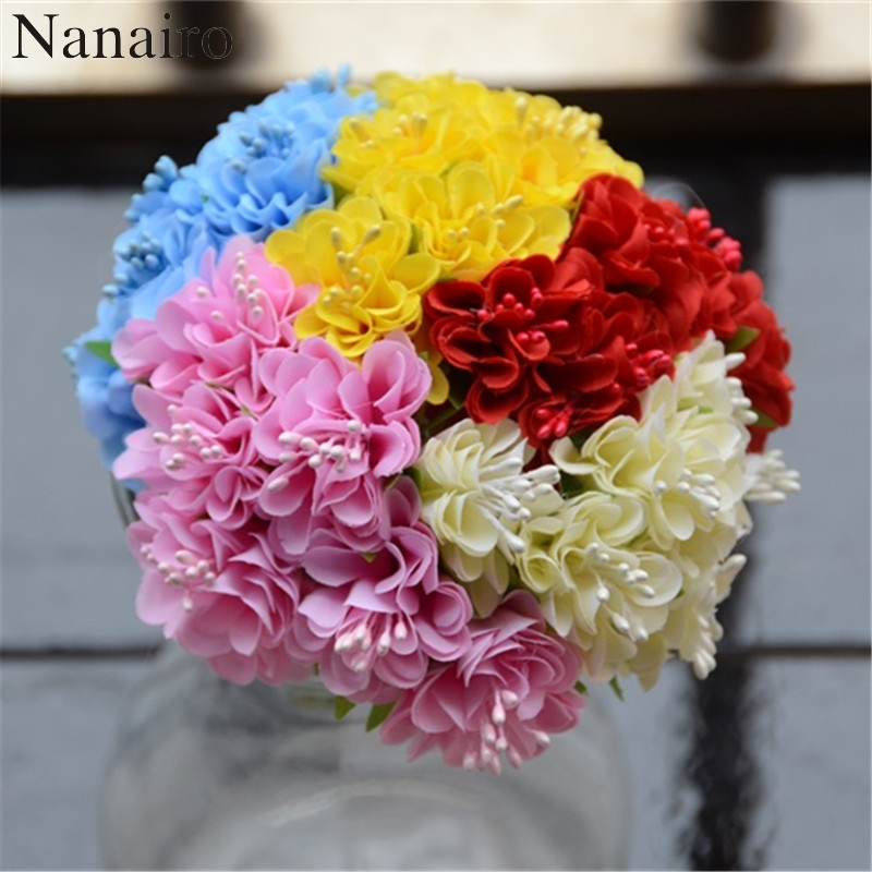 60pcs lot 3cm Decorative Silk Scrapbooking Mini Rose Artificial Flowers  Bouquet For Wedding Decoration DIY Wreath Craft Flower ee020148b317