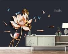 beibehang papel de parede Lotus European decorative painting three-dimensional relief background wallpaper hudas beauty