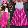 Cute Summer 1Pcs Beach Kids Baby Girls Sleeveless Striped Long Party Dress 2-7Y