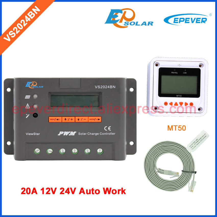 24v solar charger controller EPEVER EPSolar VS2024BN 20A with MT50 remote meter 20amp 12v 24v auto work 24v 30amp epsolar epever new series solar controller vs3024bn charger lcd display 30a 12v 24v auto work