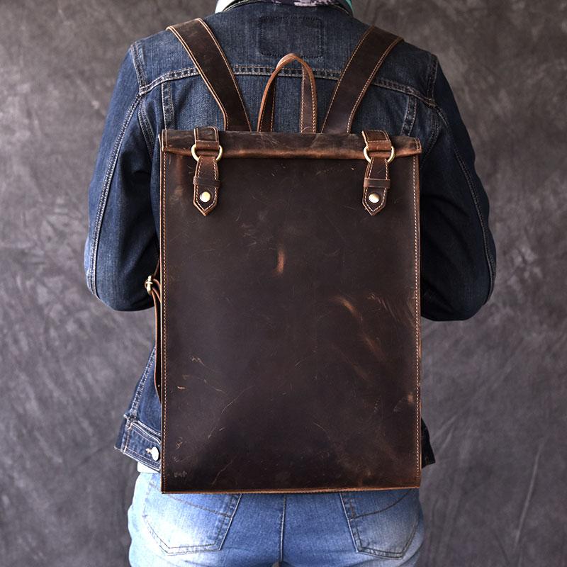 Vintage hommes Biker en cuir véritable sac à dos 100% Oli en cuir véritable femmes ordinateur portable livre sac à dos sacs de voyage hommes sac à dos