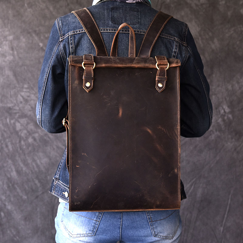 Vintage Men's Biker Real Leather Backpack 100% Oli Genuine Leather Women Laptop Book Bagpack Backpacks Travel Bags Male Rucksack