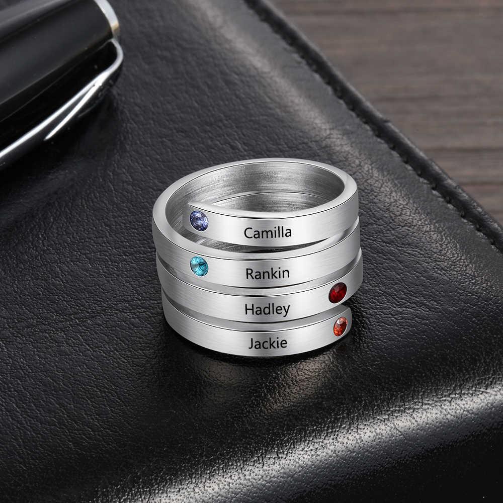 אישית נירוסטה Stackable טבעות לנשים לחרוט שם טבעת עם 4 מזלות אישית משפחת מתנה JewelOra RI103803