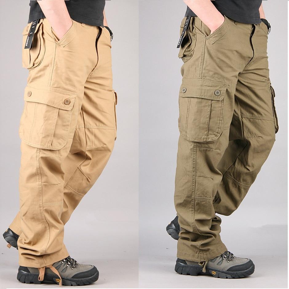Grandwish Mens Cargo Pants Plus Size 44 Casual Cargo Pant Men Baggy Cotton Work Trousers Mens Military Pants Large Size . DA620 ...