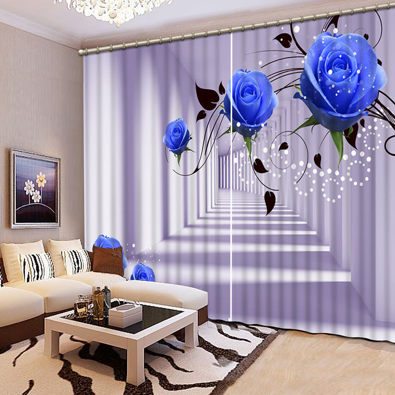 NoEnName_Null Lifelike Beautiful Blue flowers 3D Printing Curtains Curtains full Shade Bedroom Living Room Curtains CL-034