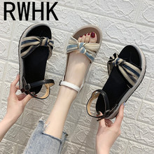 RWHK 2019 summer new wild fairy wind flat student simple retro bow thick bottom Roman sandals female tide B202