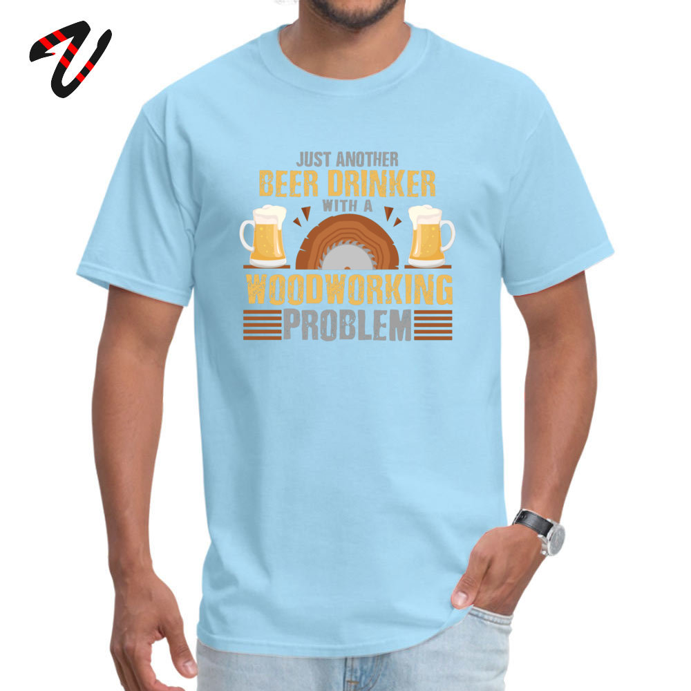 Normal 100% Cotton Camisa Tops & Tees Dominant Short Sleeve Male T-Shirt Casual VALENTINE DAY Clothing Shirt Round Neck Just Another Beer Drinker with a Woodworking Problem -15957 light