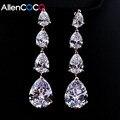 ALLENCOCO Long Drop Earrings For Women Fashion 4 Pcs Water Drop Jewelry Cubic Zirconia Wedding Earrings Bijoux Brincos Christmas