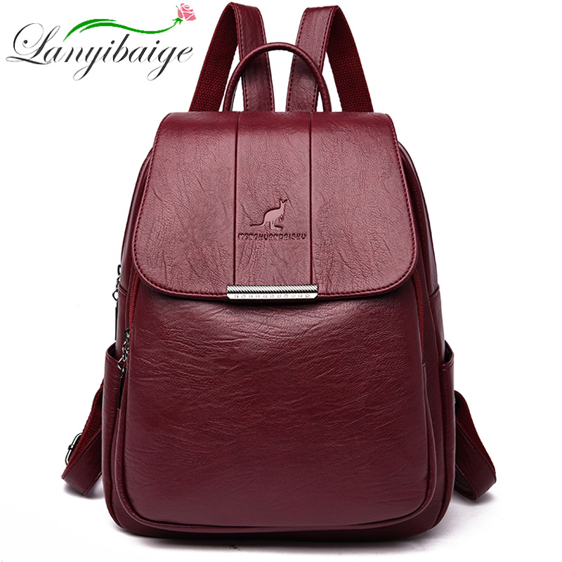 2019 Women Leather Backpacks School Bags For Girls Female Vintage Backpack Travel Shoulder Bag High Quality Mochilas Feminina
