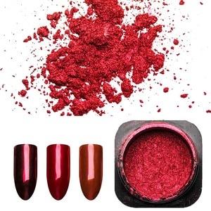 Image 2 - 1 kutu kırmızı ayna Glitter çivi tozu manikür Nail Art toz krom Pigment tırnak sanat dekorasyon aksesuarı SF3036