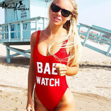 Red One Piece Swimsuit BAE WATCH Print Bodysuit Plus Size S-XL Open Backless Sexy Women Monokini Beach Swimwear Bathing Suit