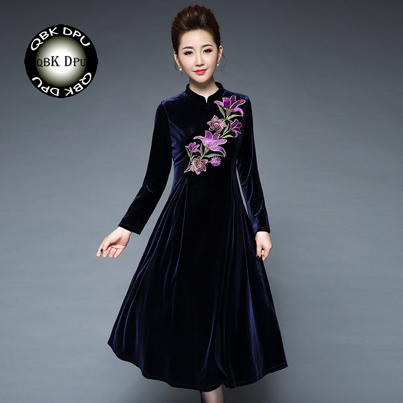 Winter women's thickened warm embroidery velvet maxi dresses 2018 new fashion vintage loose evening party dress femal ball dress