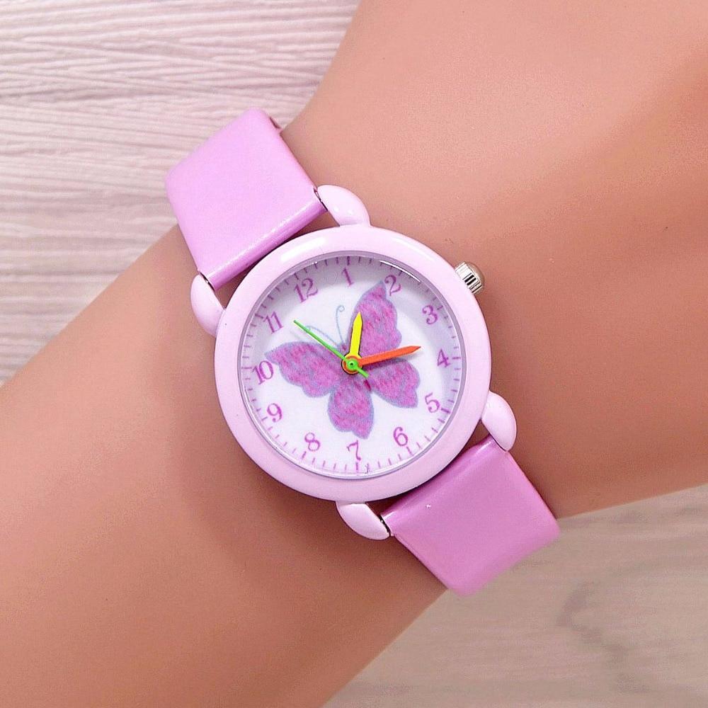 2018 Fashion Cartoon Butterfly Watches Kids Girls Steel Straps Quartz Wrist Watch Cute Clock Watch Watches