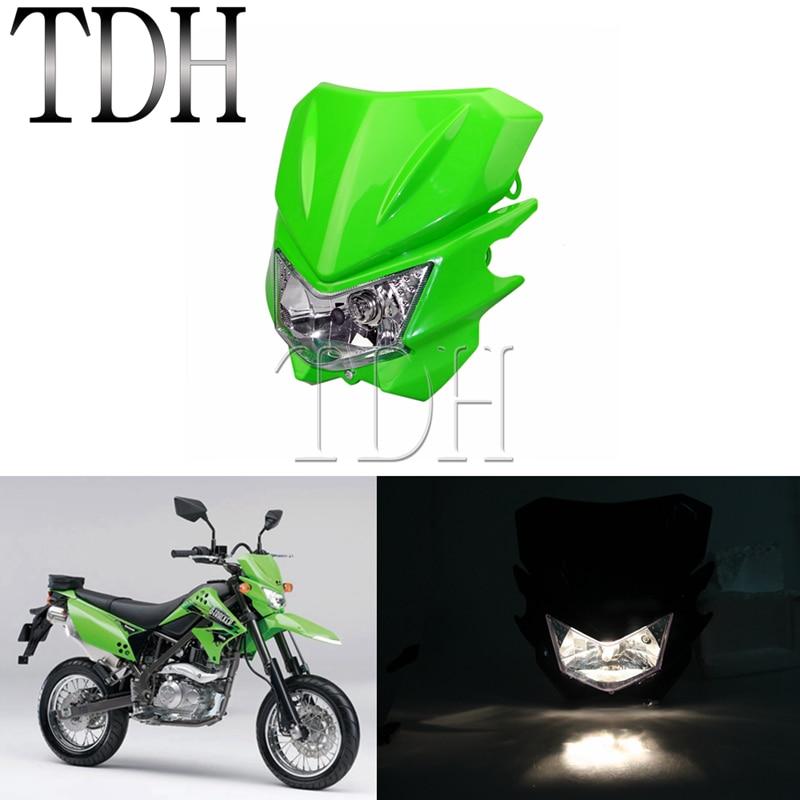 Motocross Green Headlight Hi lo Beam Front Headlamp Dual Sport Dirt Bike For Kawasaki KX KLX