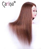 100% human hair mannequin head professional training head for salon 55cm mannequin head with hair