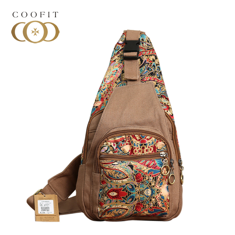Coofit National Style Canvas Crossbody Bag For Women Female Vintage Girls Chest Pack Shoulder Bags Retro Colorful Flowers Bags