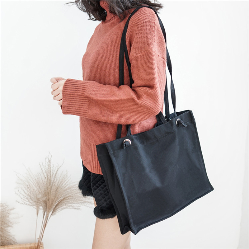 afff8df51ea Minimalist Brand Solid Colors Bags for Women Canvas Literary Lady Shoulder  Bag Simple Thread Book Bags Mori Girl