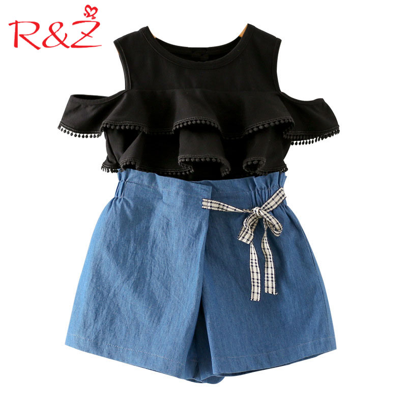 R&Z Baby Girls Clothes 2018 New Summer Bare Shoulder Cotton Short Sleeve Tops+Washed Denim Shorts 2pcs Suits for Kids Clothing