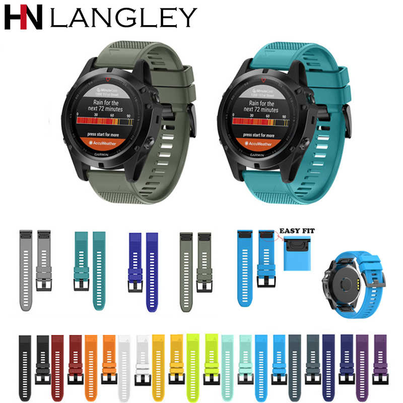 20 22 26MM Silicone Watch Bands For Quickfit Garmin Fenix 5X 5  3HR Watch Band Easy fit Release Strap For forerunner 935 Band