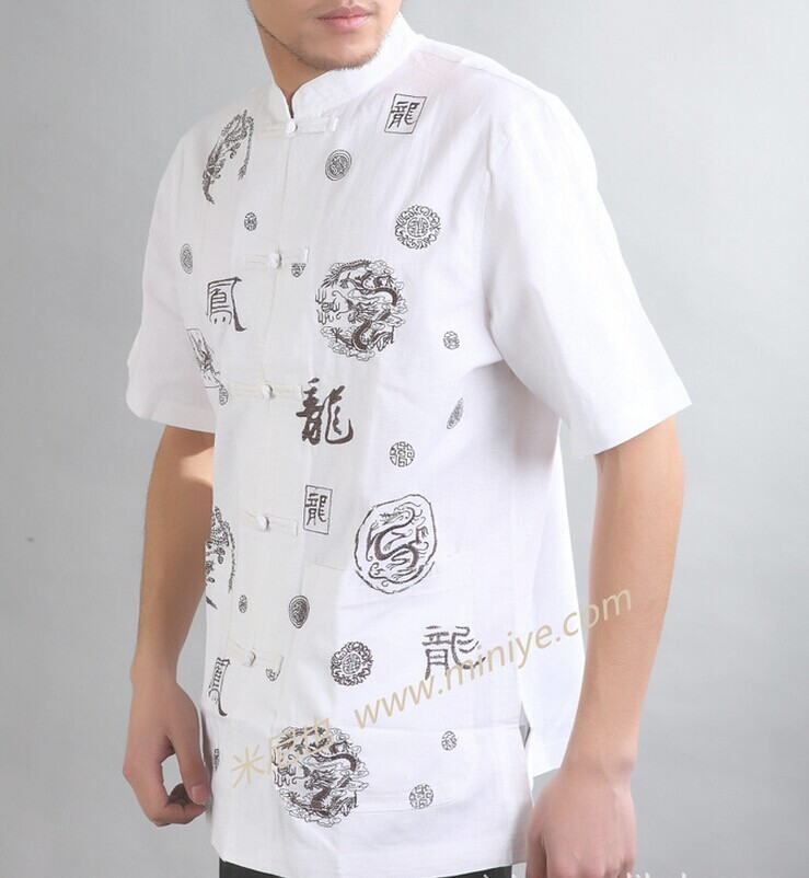 Черный традиционный китайский стиль мужская хлопковая льняная рубашка Кунг-фу топ одежда Размер S M L XL XXL Mny-01C