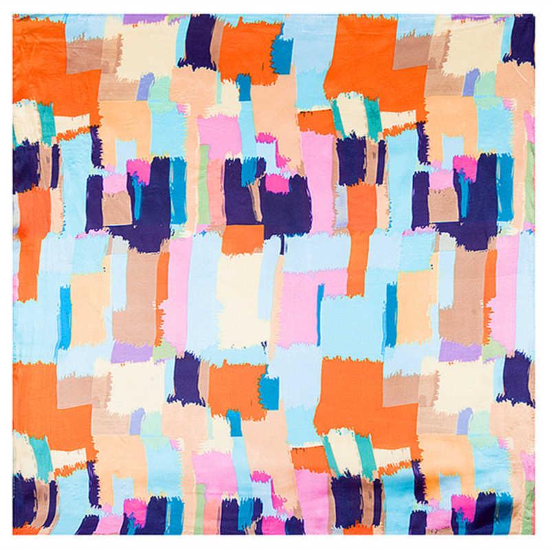 Kadın 60x60 cm Kare Eşarp Taklit Ipek Eşarplar Hostes Hostes Bayan Geometrik Büyü renk Yağ Baskı Atkısı Bandana