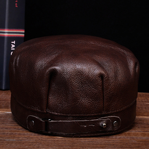 Image 5 - HL059  Mens genuine leather baseball cap hat brand new spring real leather adult solid adjustable army hats/caps