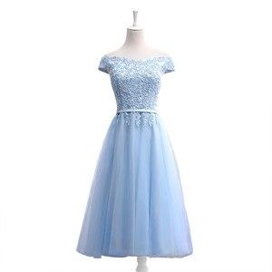 Image 3 - JFN # à lacets robe longue bleue de demoiselle dhonneur, épaules dénudées, mi courte, sur mesure, robe de bal, tenue de toast, nouvelle collection 2018