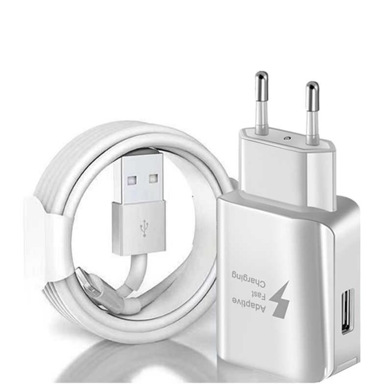 Kit Fast Charger + USB Charging Cable for iPhone X XS MAX XR 6 6S 7 8 Plus 5 5S EU/US Plug Wall USB Chargers Data Cable 1m 2m 3m