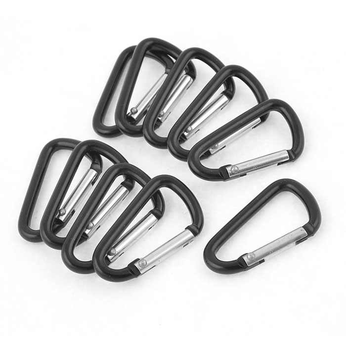 Premium Black Aluminum Alloy D Carabiner Spring Snap Clip Hooks Keychain Climbing new Outdoor Climbing Camping Hiking New A30527