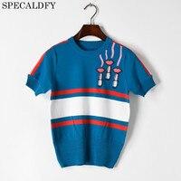 2018 Summer Knitted Top Tees Short Sleeve Tshirt Women O Neck Embroidery Luxury Brand T Shirt Harajuku Tops Camiseta Feminina