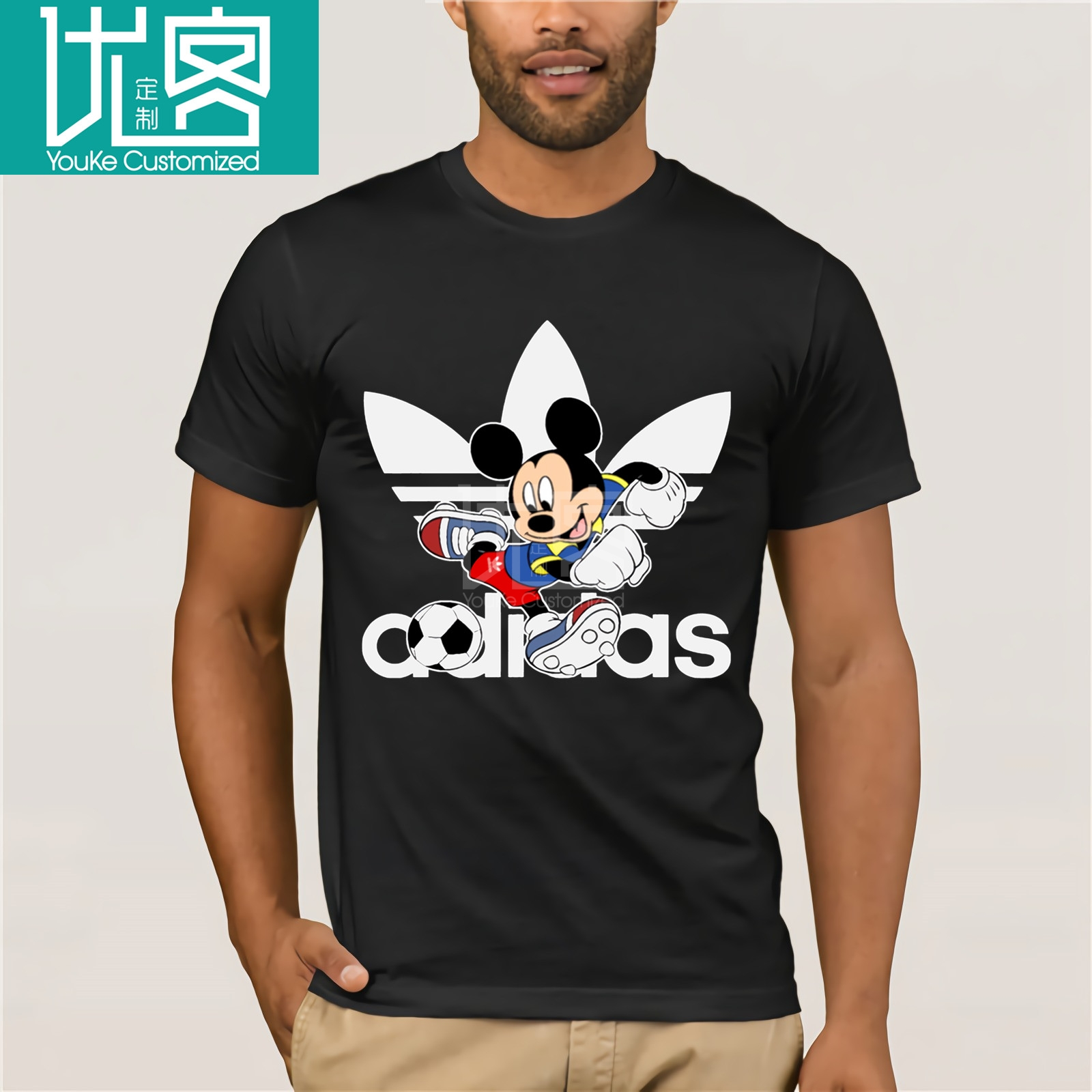 Football Mickey  Disn Sports Logo T-Shirts Handsome Mickey Print For Men's Cool Funny Mickey Tshirt