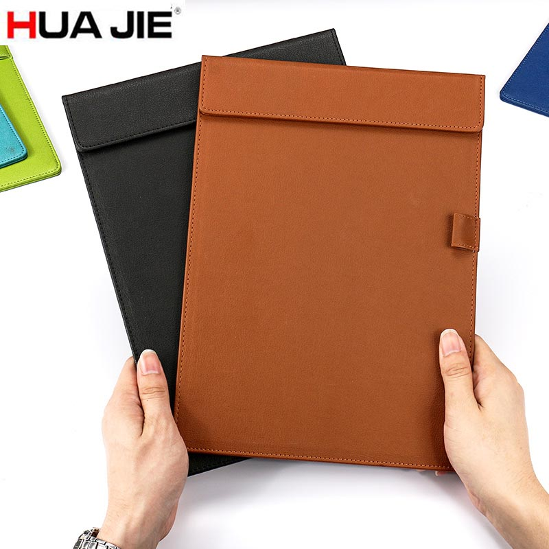 HUA JIE A4 Magnetic Clipboard PU Leather Portfolio with Pen Clip Hotel Menu Notepad Nurse File Folder Office Sign/Drawing Boards ruize multifunction pu leather folder organizer padfolio soft cover a4 big file folder contract clamp with notepad office supply