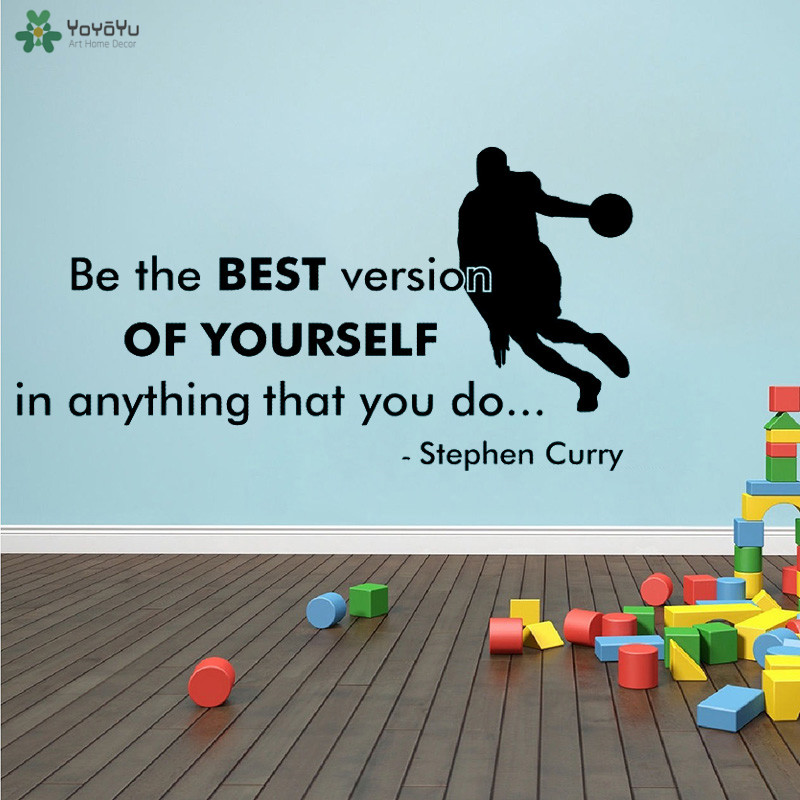 YOYOYU Wall Decal Be The Best Version Of Yourself Quote Wall Sticker Basketball Fitness Sport Vinyl Wall Decoration QQ321