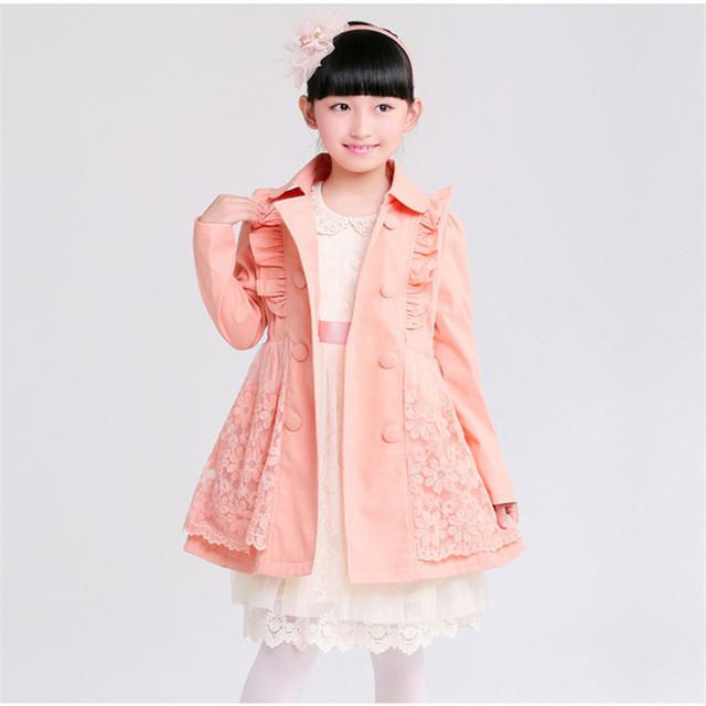 La nueva chica de doble botonadura abrigo trench cuhk edición de han instala TongQiu niños gabardina estilo caliente