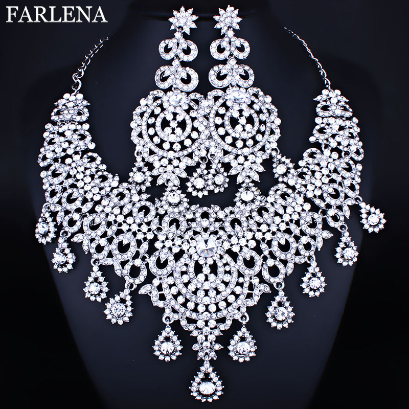 Declaração de estilo marroquino Colar Brincos conjunto com os Cristais de Strass conjuntos de Jóias de Casamento Da Noiva de Luxo