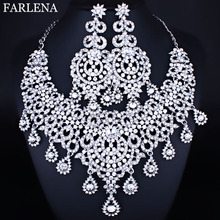 Moroccan style Statement Necklace Earrings set with Crystal Rhinestones Luxury Bride Wedding Jewelry sets недорого