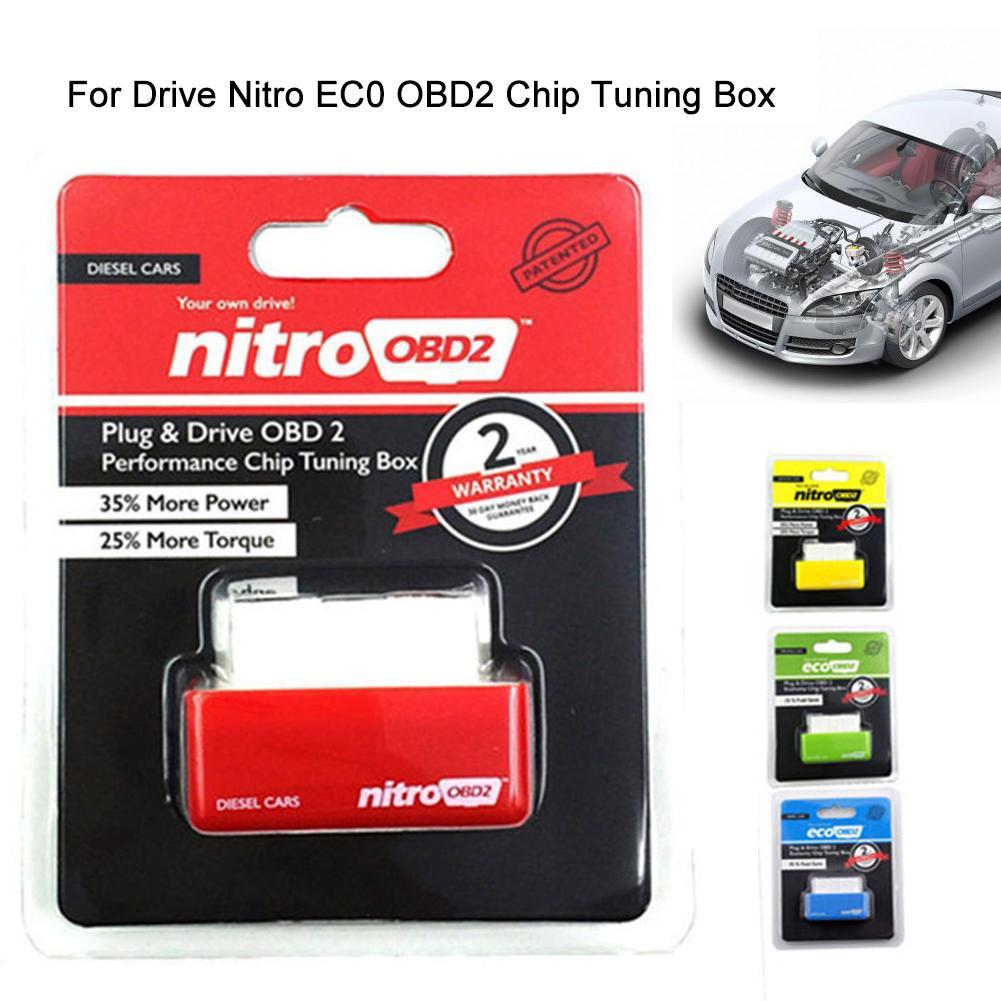 Obd2 Drive Nitro EC0 OBD2 Chip Tuning Box Plug Driver For Cars 15% Fuel Save More Power Launch Diagnostic Tool
