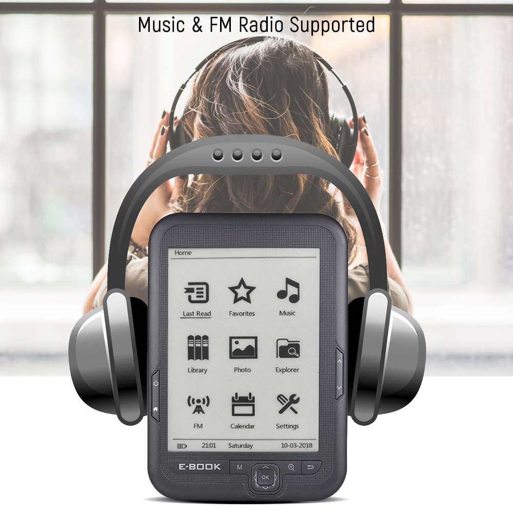 8G E-book Reader E-reader 6'' E-ink Screen MP3 Player with Turn Page Buttons Leather Case Earphone 8G e ticketing page 5