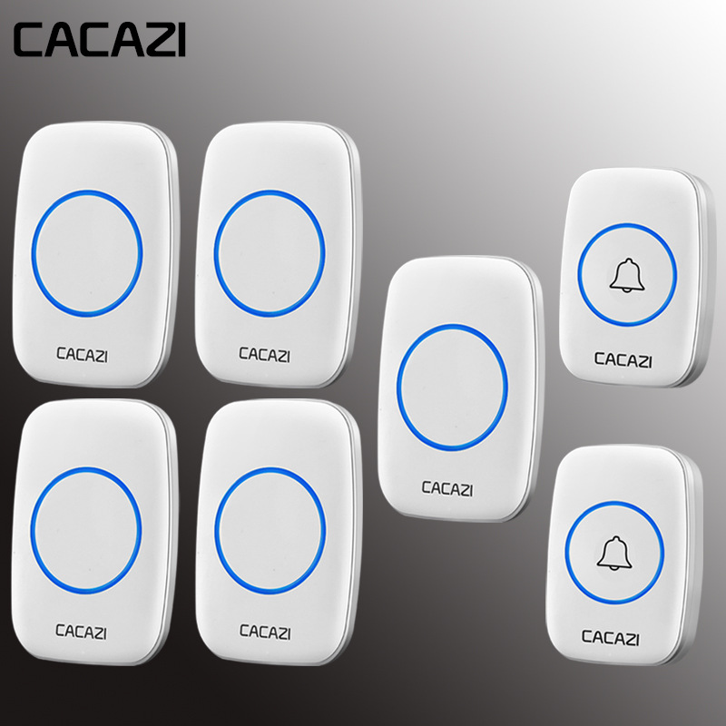 CACAZI Home Wireless Doorbell Waterproof 2 Battery Buttons 5 EU Plug Receiver 60 Chime 5 Volume Cordless Calling Bell US EU PlugCACAZI Home Wireless Doorbell Waterproof 2 Battery Buttons 5 EU Plug Receiver 60 Chime 5 Volume Cordless Calling Bell US EU Plug