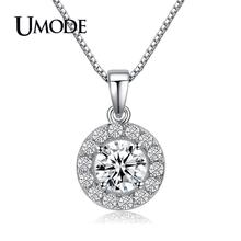 UMODE 2019 New Fashion Zircon Crystal Round Hollow Pendant Necklace for Women White Gold Box Chain Long Jewelry Collares AUN0012