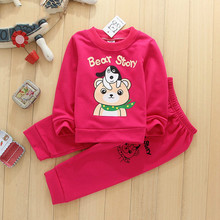 Cotton unisex clothing sweater two-piece set 2016 autumn winter Children suits casual toddler cute puppy bear pattern kids