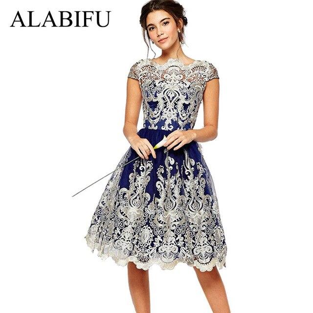 144d60770d783 ALABIFU Kadın yaz elbisesi 2019 Artı Boyutu Rahat Seksi oyma dantel Elbise  Balo Zarif Parti Elbise