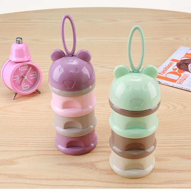 Baby Food Container Cartoon Portable Milk Box Clean and Convenience
