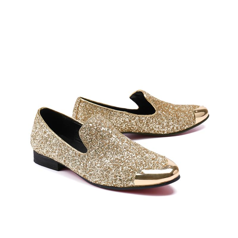 Los Punta Oro Resbalón Hombre Conducción En Mocasines Oro Tenis Zapatos Zapatillas Metal Moda Sequine Redonda Ocasionales De plata Diseño Planos qPWRw4