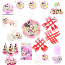 Minnie Theme Cartoon Party Set Balloon Tableware Plate Napkins Banner Birthday Candy Box Baby Shower Party Decoration