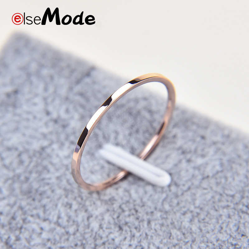 ELSEMODE  Rose Gold 1.1 mm Simple Titanium Steel Smooth Engagement Wedding Couple Rings For Women Girl Jewelry Gift