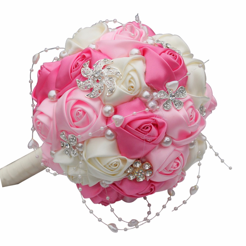 Round ball hand bridal bouquet foam bride bridesmaid hand bridal round ball hand bridal bouquet foam bride bridesmaid hand bridal bouquet handmade ribbon flowers wedding bouquet q358 in artificial dried flowers from izmirmasajfo